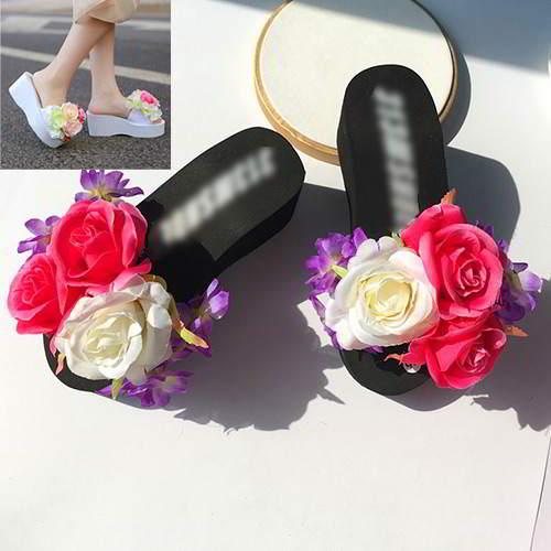 Three Flowers Wedge Beach Shoes RAEAAA Black 6pcs