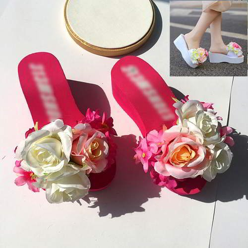 Three Flowers Wedge Beach Shoes Plum Red 6pcs
