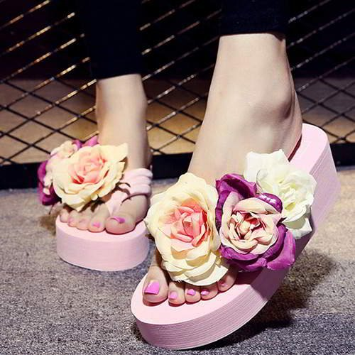 Three Flowers Wedge Beach Shoes RAEAB7 Pink 6pcs