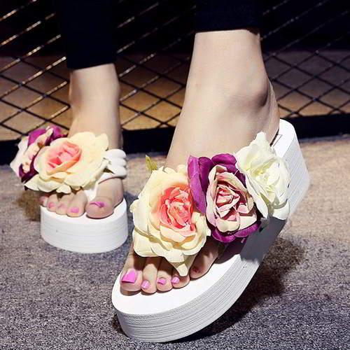 Three Flowers Wedge Beach Shoes RAEAB6 White 6pcs