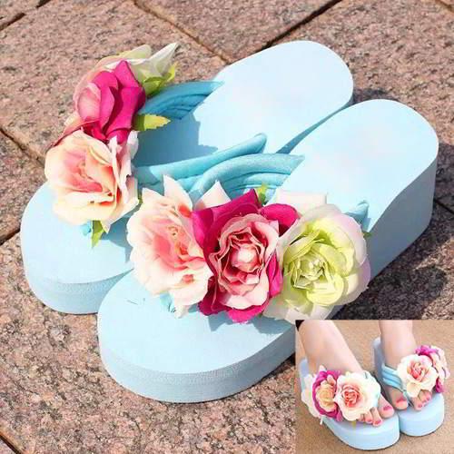 Three Flowers Wedge Beach Shoes RAEAB5 Blue 6pcs