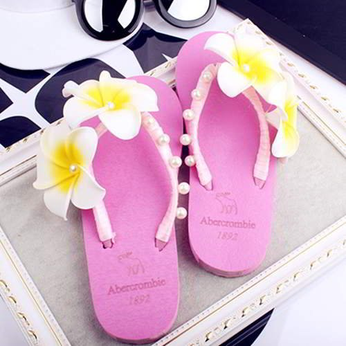 Two Flowers Beach Shoes RAC8EE Plum Red 6pcs
