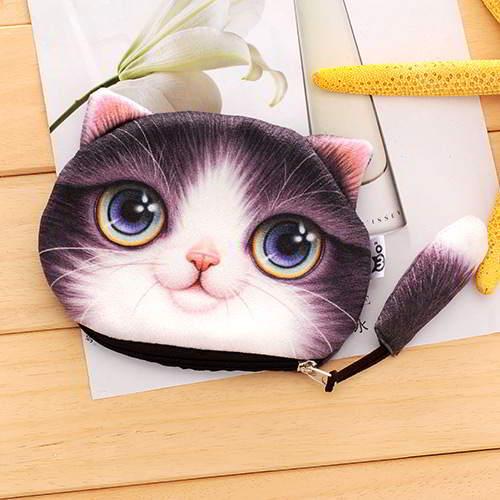 Kitten Cartoon Cat Pattern Decorated 3D Design RBF7EF Purple