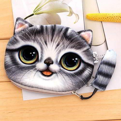 Kitten Cartoon Cat Pattern Decorated 3D Design RBF7E7 Gray