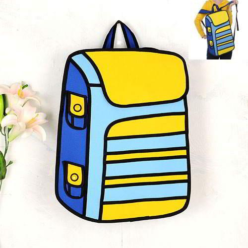 Cartoon 3D Strip Backpack RBDA55 Yellow 6pcs