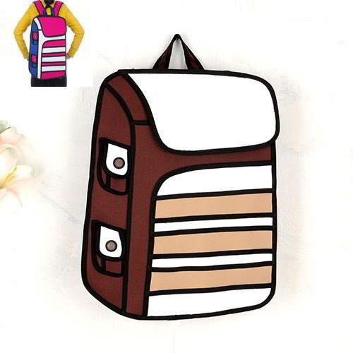 Cartoon 3D Strip Backpack RBDA5D Brown 6pcs