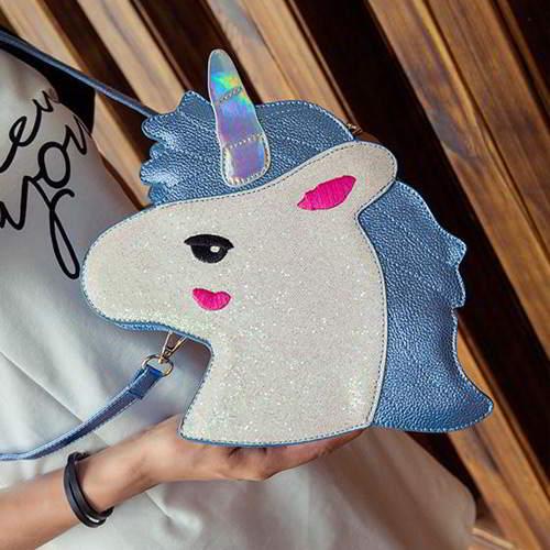 Unicorn Color Matching Shoulder Bag RC76F8 Blue 6pcs