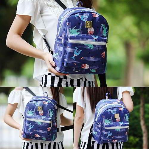 Cartoon Pattern Simple Backpack RBD67D Dark Blue 6pcs