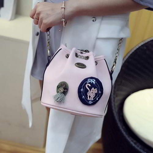 Badge Pattern Bucket RBD68D Pink 6pcs