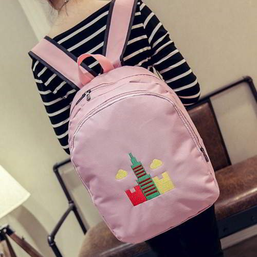 Embroidery Tower Pattern Backpack RBAF7A Pink 6pcs