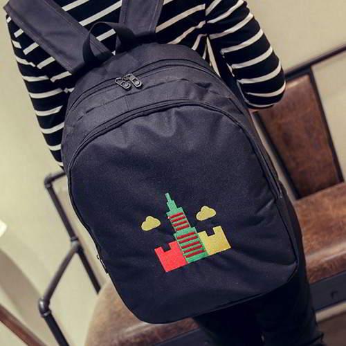 Embroidery Tower Pattern Backpack RBAF7B Black 6pcs