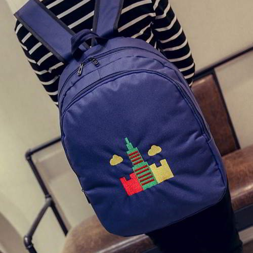 Embroidery Tower Pattern Backpack RBAF7C Sapphire Blue 6pcs