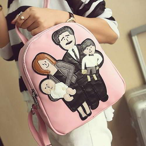 Family Pattern Pure Color Backpack RBAFEE Pink 6pcs