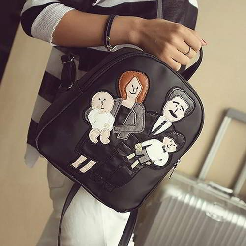 Family Pattern Pure Color Backpack RBA8FF Black 6pcs