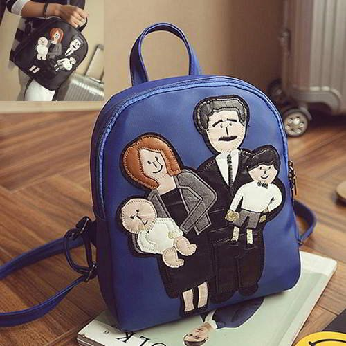 Family Pattern Pure Color Backpack RBA8F8 Sapphire Blue 6pcs