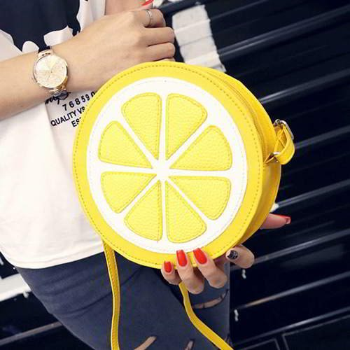 Lemon Round Shoulder Bag RBDA66 Yellow 6pcs