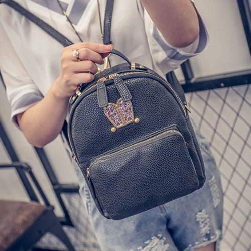Rabbit Pure Color Backpack RBAF66 Black 6pcs