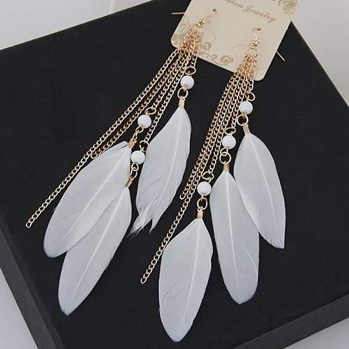 Metal Feather Tassel T55EA7 White 6pcs
