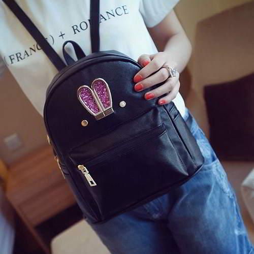 Rabbit Pure Color Backpack RBAF6B Black 6pcs