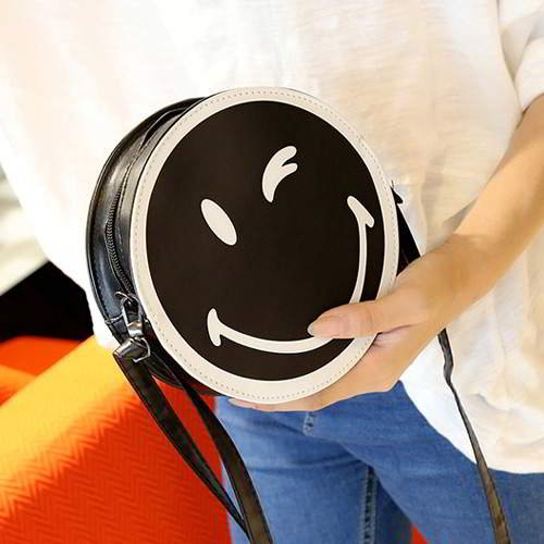 Smiling Face Round Simple RC756C Black 6pcs
