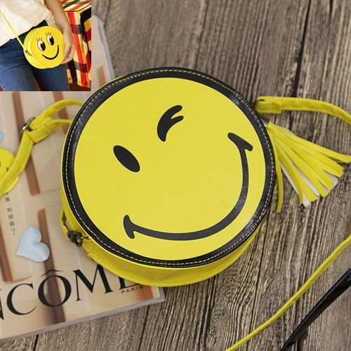 Smiling Face Round Simple RC755F Yellow Black 6pcs