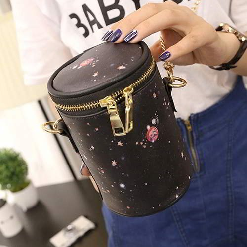 Pattern Simple Bucket RC755A Black Pink Starry Sky 6pcs