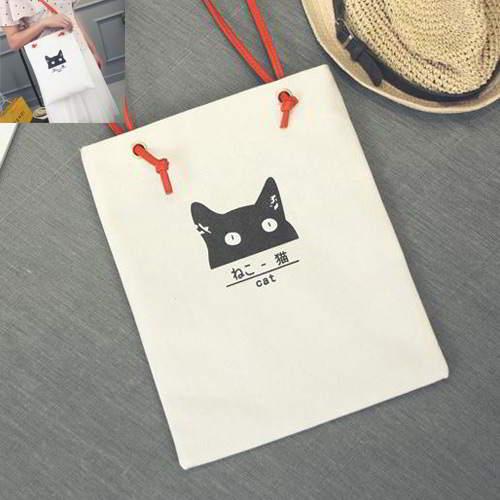 Cat Canvas Bag RBE7AF White 6pcs