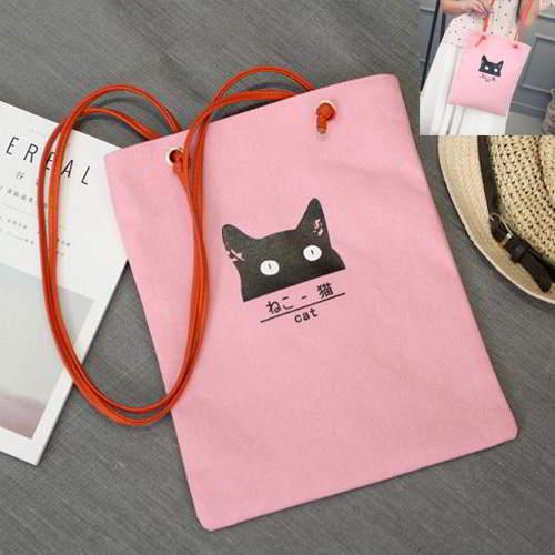 Cat Canvas Bag RBE7A8 Pink 6pcs