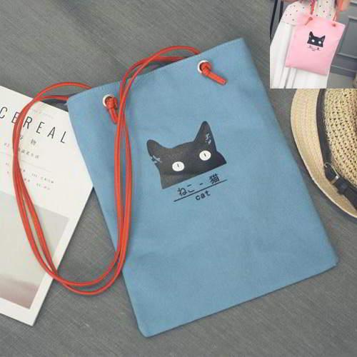 Cat Canvas Bag RBE7A6 Blue 6pcs