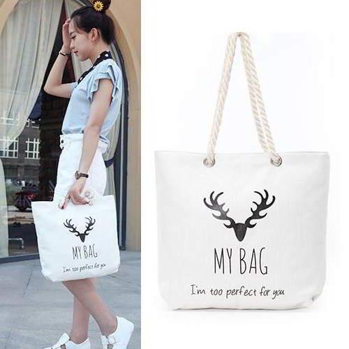 Deer Head Square Canvas Bag RBE7B5 White 6pcs