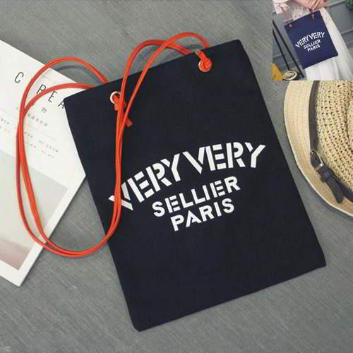 Letter VERY Square Canvas Bag Black RBE7CF 6pcs