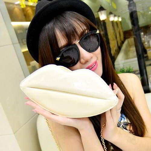 Lip Shoulder Bag RBDA6E Beige 6pcs