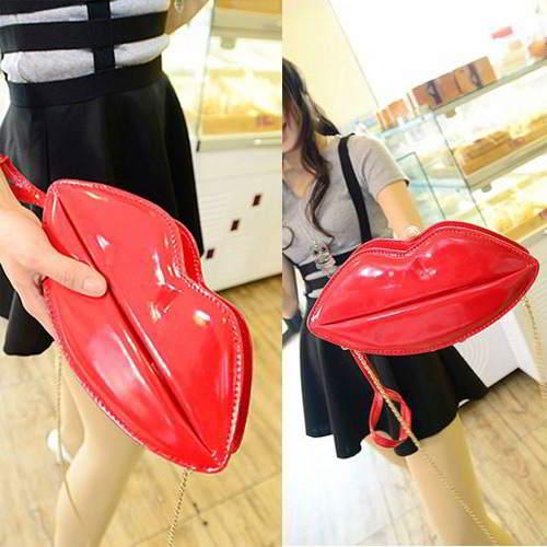Lip Shoulder Bag RBDA58 Red 6pcs