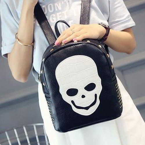 Skull Pattern Rivet Backpack RBBD5D Black 6pcs