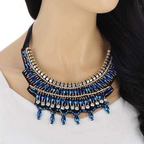 Beads Weaving Decorated Collar Sapphire RAAAE7 Blue 6pcs