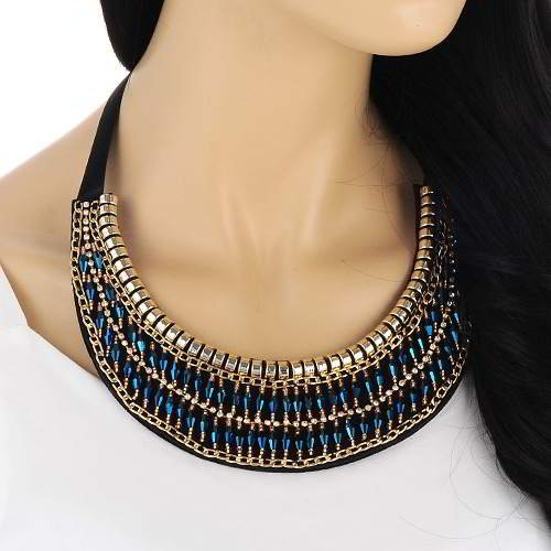 Beads Weaving Decorated Crescent Collar RAABFA Blue 6pcs