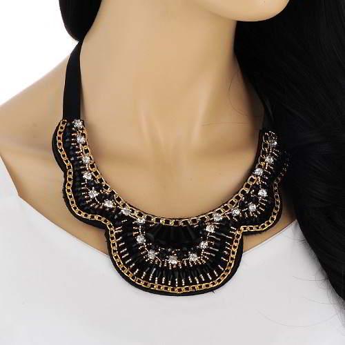 Beads Weaving Geometric Shape Collar RAABFD Black 6pcs