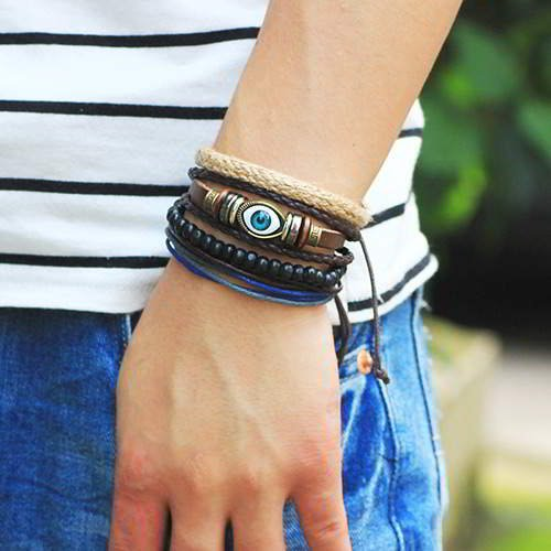 Man Eye Bracelet RBBB77 Coffee 6pcs