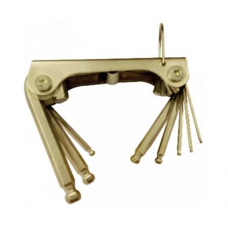 KRISBOW KW0101656 Hex Key Folding Ballpoint 5/64-3/8In