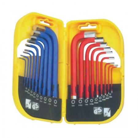 KRISBOW KW0103811 Hex Key (L) 1.5-10 mm,&1/16-3/8 (18Pcs)