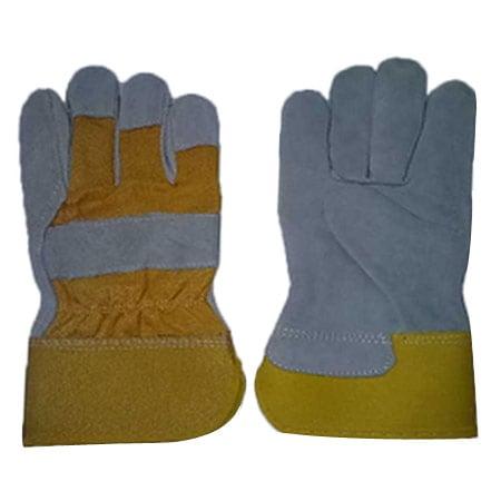 LEOPARD LP 0192 Yellow Cotton Cow Split Leather Gloves @12 Pair