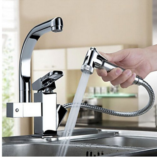 Berlian Improvement Luxury Pull Out Chrome Finish Kitchen Faucet Mixer Single Hole Deck Mounted 160817