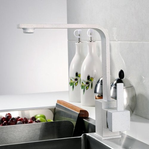 Berlian Improvement Newly White Quartz Kitchen Faucets 360 Swivel Mixer Tap Brass Faucet Ceramic Plate Spool