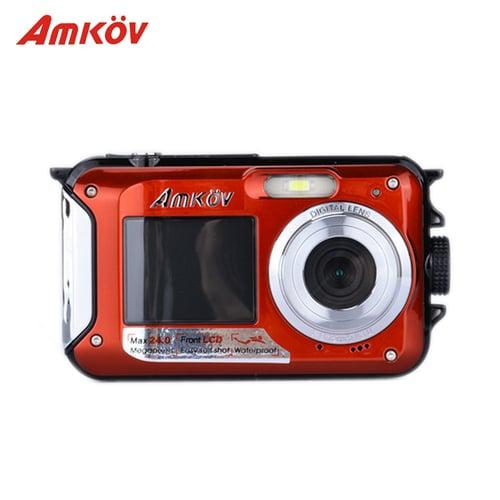 Amkov High Quality AMK0V W599 Waterproof 24MP Digital Camera Double Screens Mini Camera HD Camcorder 1080P CMOS 16X Digital Zoom W599