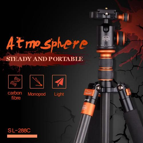 SIDELANGBOLI Professional SL288C Carbon Fiber Travel Tripod Camera Monopod with Ballhead For Canon Nikon DSLR DSLR SL288C
